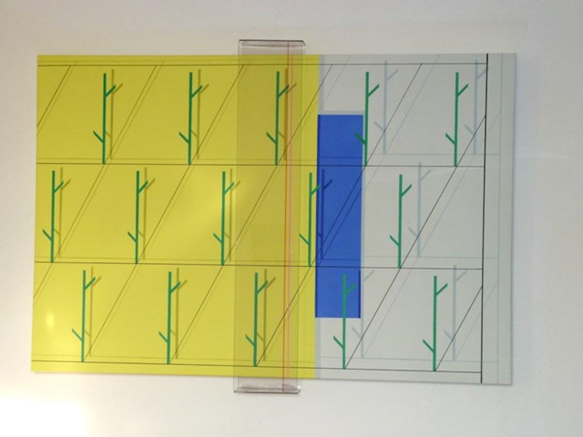 Iler Melioli, Scansione, 2013, assemblage plexiglass e acrilico su tela, 80x120x6web