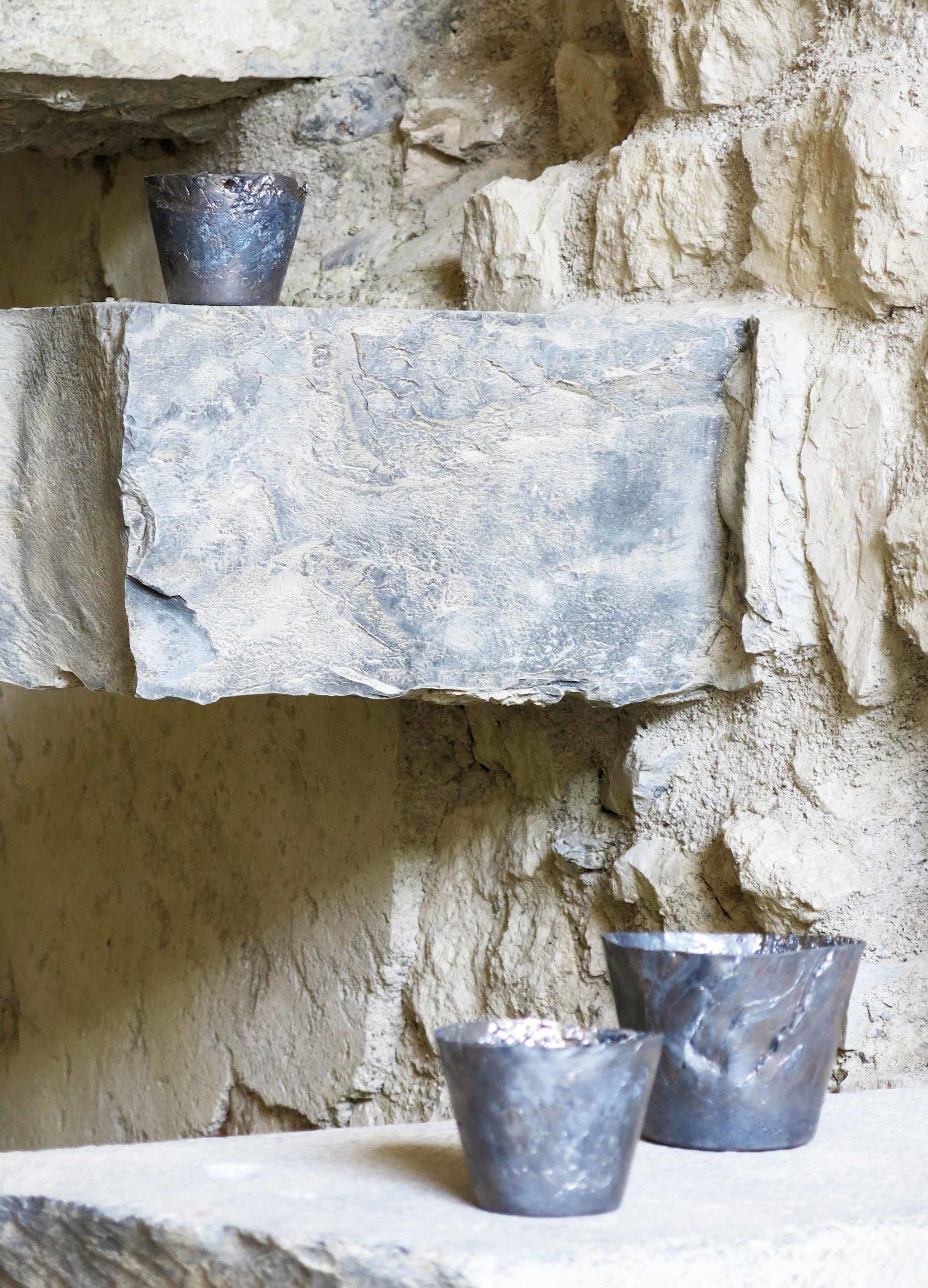 Ciotole in piombo ricavate dalla fusione di reperti trovati sulle Dolomiti