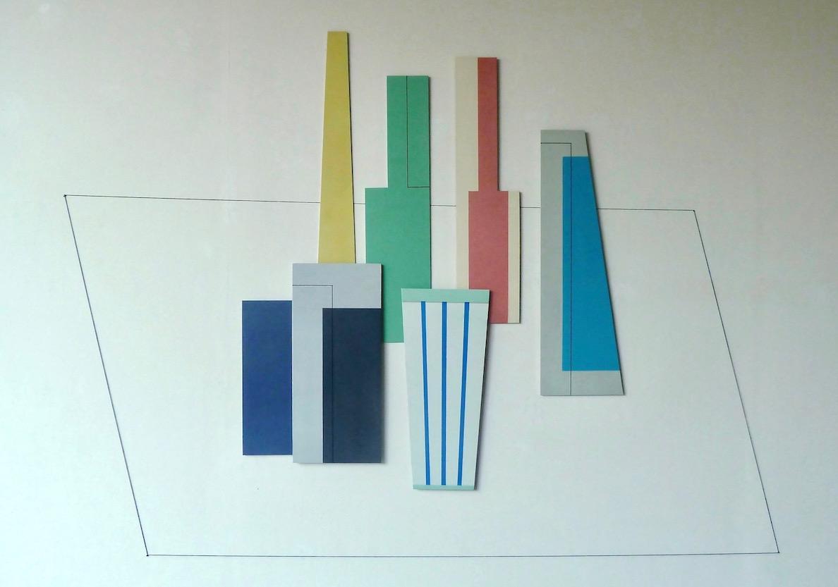 Iler Melioli Omaggio a Morandi 2015 Installazione composta da sette elementi in alluminio policromo cm 120x160