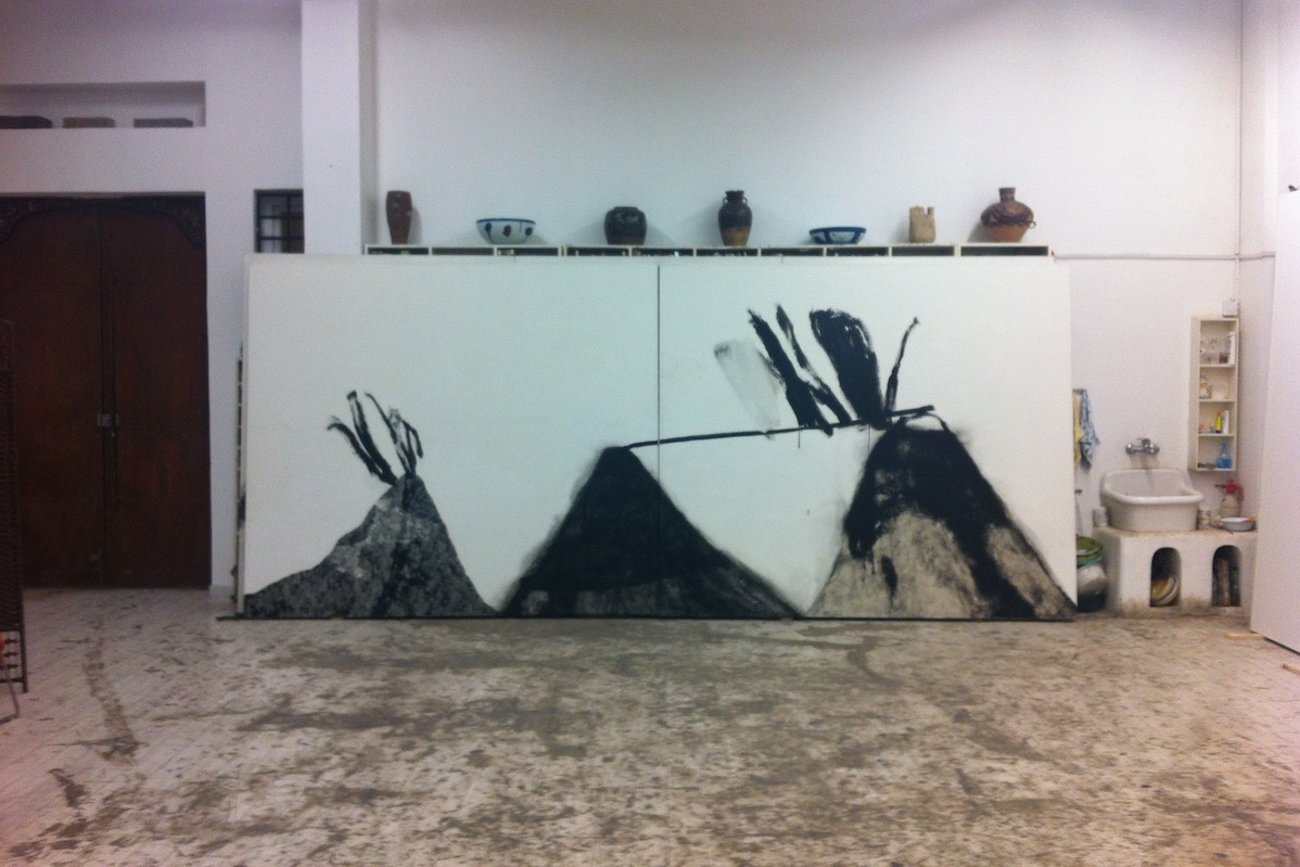 Shang Yang, 2010, tecnica mista su tela, 218x506 cm