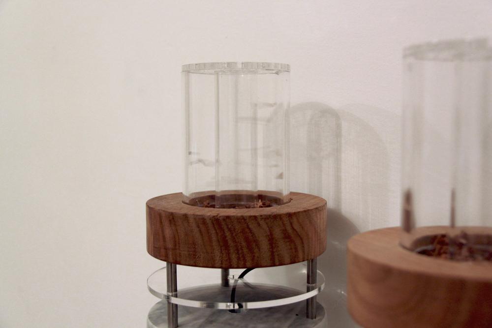 Tamara Repetto, 2013, plexiglas, legno di castagno, corteccia di castagno, marmo, ventole, cavo, circuito, mm126x150 (singolo elemento)