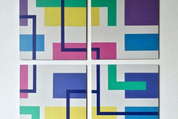 Iler Melioli, Geometrie d'ambiente, 2020, poliacrilici su alluminio cm 84x84