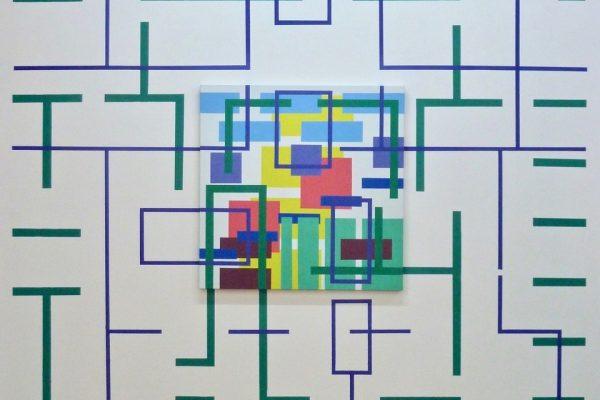 Iler Melioli, Res extensa 2016 installazione acrilici su tela e parete cm 300x330